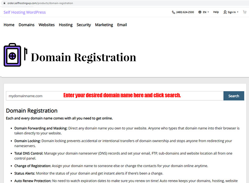 Enter the domain name you want and click search.